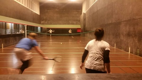 L-Plates v Earthworks in the real tennis double league at CURTC
